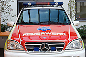 A red and white ambulance at the Marien Hospital, Osnabruck, Germany. Royalty Free