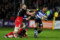 Semesa Rokoduguni of Bath Rugby takes on the Saracens defence. Aviva Premiership match, between Bath Rugby and Saracens on April 1, 2016 at the Recreation Ground in Bath, England. Photo by: Patrick Khachfe / Onside Images