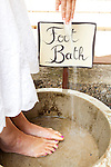 Haiku Cannery Inn, Haiku, Maui, Hawaii.  The foot bath located just outside the main entrance to the historic building.