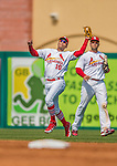 2 March 2013: St. Louis Cardinals infielder Ronny Cedeno pulls in an infield fly during a Spring Training game against the Washington Nationals at Roger Dean Stadium in Jupiter, Florida. The Nationals defeated the Cardinals 6-2 in their first meeting since the NLDS series in October of 2012. Mandatory Credit: Ed Wolfstein Photo *** RAW (NEF) Image File Available ***