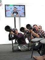 FUSSBALL INTERNATIONAL  EURO 2012   15.06.2012  Pressekonferenz der Deutschen Nationalmannschaft in Danzig Das Pressezelt in dem die PK mit den Journalisten ablaeuft