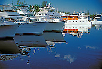 Ft Lauderdale, Florida, New River Marina, Luxury Yachts, Moored, Reflections High dynamic range imaging (HDRI or HDR)