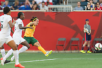 WINNIPEG, MANITOBA, CANADA - June 12, 2015: Australia vs Nigeria match at the Winnipeg Stadium. Final score, Australia 2, Nigeria 0.