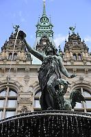 Hamburg statue in the fountain