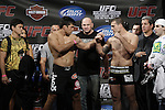 October 23, 2009; Los Angeles, CA; USA;  Champion Lyoto Machida (l) and challenger Mauricio Rua (r)weigh-in for their upcoming light heavyweight championship bout.  The two will meet tomorrow night in the headliner of UFC 104 at the Staples Center in Los Angeles, CA.