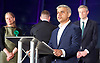 Mayor of London and London Assembly results announcement at City Hall, London, Great Britain <br /> 6th May 2016 <br /> <br /> <br /> Sian Berry - Green Party <br /> <br /> Paul Golding - Britain First - back turned <br /> <br /> Zac Goldsmith - Conservative<br /> <br /> Lee Harris - CISTA<br /> <br /> Sadiq Khan - Labour <br /> <br /> Ankit Love - One Love Party<br /> <br /> Caroline Pidgeon - Lib Dems<br /> <br /> Sophie Walker - Women&rsquo;s Equality Party <br /> <br /> Peter Whittle - UKIP <br /> <br /> The winner was Sadiq Khan who is appointed the new mayor of London <br /> <br /> <br /> <br /> Photograph by Elliott Franks <br /> Image licensed to Elliott Franks Photography Services