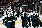 Drew Doughty and team  Los Angeles Kings celebrate goal during ice-hockey match between Los Angeles Kings and Phoenix Coyotes in NHL league, March 3, 2011 at Staples Center, Los Angeles, USA. (Photo By Matic Klansek Velej / Sportida.com)