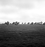 The Duke of Beauforts Hunt...The hunt in full gallop across the countryside in pouring rain. Near Luckington, Gloucestershire...Hunting with Hounds / Mansion Editions (isbn 0-9542233-1-4) copyright Homer Sykes. +44 (0) 20-8542-7083. < www.mansioneditions.com >..