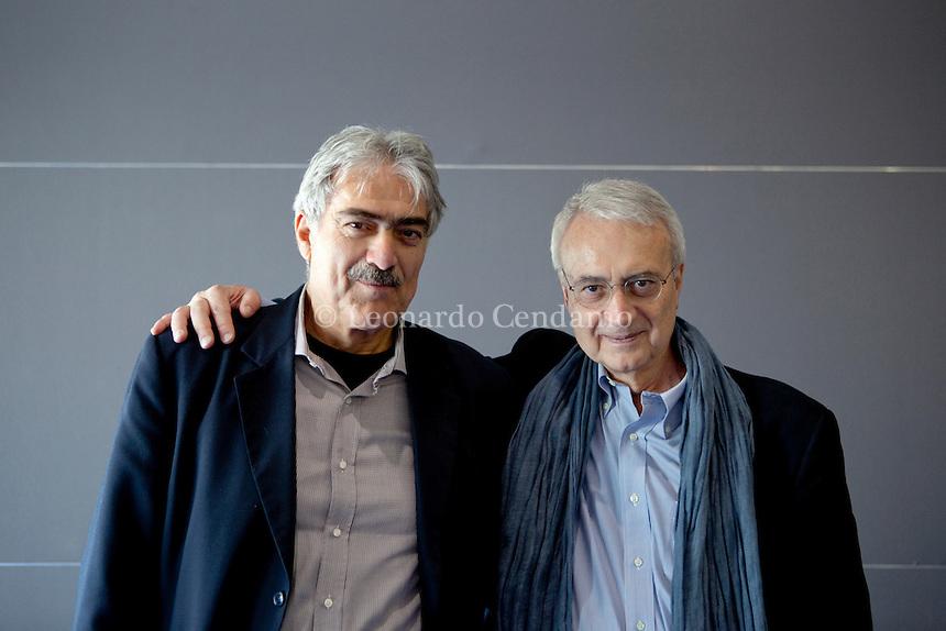Marcello Flores e Paolo Flores d\'Arcais, italiani writers. Torino, maggio 2011.  © Leonardo Cendamo