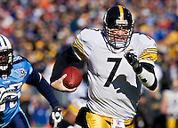 NASHVILLE, TN - DECEMBER 21:   Ben Roethlisberger #7 of the Pittsburgh Steelers runs with the ball against the Tennessee Titans at LP Field on December 21, 2008 in Nashville, Tennessee.  The Titans defeated the Steelers 34-14.  (Photo by Wesley Hitt/Getty Images) *** Local Caption *** Ben Roethlisberger