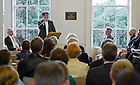 Aug. 29, 2012; Patrick Griffin introduces the keynote speaker at O'Connell House in Dublin to open the Notre Dame 1916 Dublin Conference...Photo by Matt Cashore/University of Notre Dame
