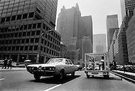 Manhattan, NYC, May, 1970. The French Actress Marlene Jobert visiting Manhattan in a &ldquo;fish tank car&rdquo; designed by Quasar Khanh on a Mini Austin chasis.<br /> <br /> Manhattan, NYC, Mai 1970. La vedette du cin&eacute;ma fran&ccedil;ais Marl&egrave;ne Jobert venue &agrave; New York pr&eacute;senter son dernier film Le passager de la pluie, a choisi pour visiter la ville de fa&ccedil;on originale la voiture Aquarium. Elle r&eacute;alis&eacute;e par Quasar Khanh sur une plateforme Austin Mini.