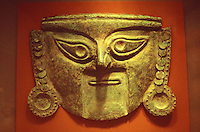 pre-Hispanic copper mask from Chile, Chimu culture 1200 AD.  on display at the Nelson A. Rockefeller Center for Latin American Art in San Antonio, Texas, USA
