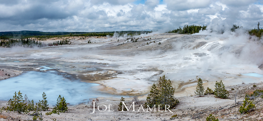 Porcelain basin part of the Norris Geyser Basin at Yellowstone National Park.
