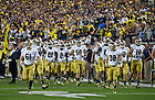 Sept. 7, 2013; The Irish take the field at Michigan Stadium.<br /> <br /> Photo by Matt Cashore