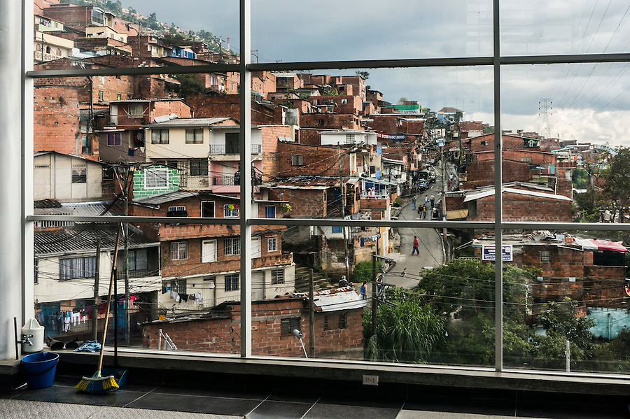 A view of the lower income neighborhoods  on the slopes above Medellin, Colombia from the Teleférico or air tram station.