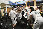 MILWAUKEE, WI - MARCH 16:  Purdue Boilermakers celebrate in the locker room during the 2017 NCAA Men's Basketball Tournament held at BMO Harris Bradley Center on March 16, 2017 in Milwaukee, Wisconsin. (Photo by Jamie Schwaberow/NCAA Photos via Getty Images)