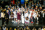 DALLAS, TX - APRIL 2: Head coach Dawn Staley of the South Carolina Gamecocks is interviewed during the trophy presentation during the 2017 Women's Final Four at American Airlines Center on April 2, 2017 in Dallas, Texas. (Photo by Timothy Nwachukwu/NCAA Photos via Getty Images)
