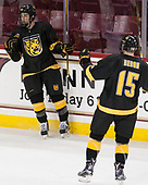 Nick Halloran (CC - 13), Mason Bergh (CC - 15) - The Boston College Eagles defeated the visiting Colorado College Tigers 4-1 on Friday, October 21, 2016, at Kelley Rink in Conte Forum in Chestnut Hill, Massachusetts.The Boston College Eagles defeated the visiting Colorado College Tiger 4-1 on Friday, October 21, 2016, at Kelley Rink in Conte Forum in Chestnut Hill, Massachusett.