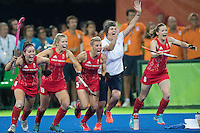 Team GB Hockey Team win gold at Rio Olympics. Team GB run as they score the victory goal and win the Rio Olympics gold medal for hockey. <br /> Rio de Janeiro, Brazil on August 19, 2016.<br /> CAP/CAM<br /> &copy;Andre Camara/Capital Pictures /MediaPunch ***NORTH AND SOUTH AMERICAS ONLY***
