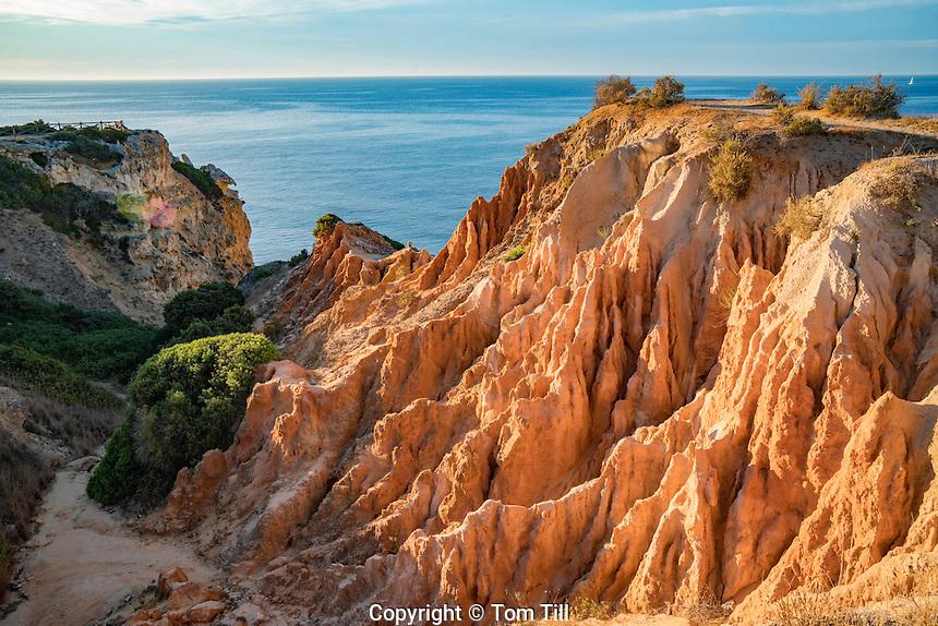 cliff erosion at sunrise on Algrave Coast, Portugal, Atlantic Ocean   Near Lagoa