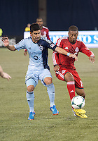 09 March 2013: Sporting KC midfielder Paulo Nagamura #6 and Toronto FC midfielder Reggie Lambe #19 in action during an MLS game between Sporting Kansas City and Toronto FC at The Rogers Centre in Toronto, Ontario Canada..Toronto FC won 2-1.