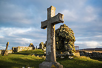 Tomb stone in cemetery, Howmore, South Uist, Outer Hebrides, Scotland