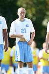 02 September 2013: North Carolina's Cooper Vandermaas-Peeler. The University of North Carolina Tar Heels hosted the Coastal Carolina University Chanticleers at Fetzer Field in Chapel Hill, NC in a 2013 NCAA Division I Men's Soccer match. UNC won the game 4-0.