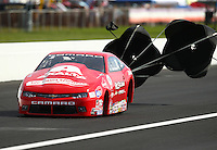 Sep 4, 2016; Clermont, IN, USA; NHRA pro stock driver Drew Skillman during qualifying for the US Nationals at Lucas Oil Raceway. Mandatory Credit: Mark J. Rebilas-USA TODAY Sports