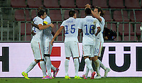 PRAGUE, Czech Republic - September 3, 2014: USA's Alejandro Bedoya (L) celebrates with teammates during the international friendly match between the Czech Republic and the USA at Generali Arena.