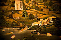 One of a series of fabulous frescoes, this one depicts tigers chasing deer in a distinctively Indian countryside. Located in the Oberoi Udaivilas in Udaipur. (Photo by Matt Considine - Images of Asia Collection)