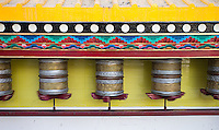 Buddhist prayer wheels go for a spin in Leh.