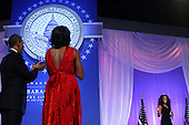United States President Barack Obama and first lady Michelle Obama applaud to singer Jennifer Hudson (R) during the Inaugural Ball January 21, 2013 at Walter E. Washington Convention Center in Washington, DC. Barack Obama was re-elected for a second term as President of the United States.  .Credit: Alex Wong / Pool via CNP