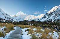 Aoraki Mt Cook and the Cook Range on a clear and frosty winter's morning from the Hooker Valley boardwalk.  cloudless, frosty winter morning.