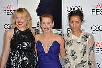 LOS ANGELES, CA. November 11, 2016: Actresses Alison Pill, Jessica Chastain &amp; Gugu Mbatha-Raw at premiere of &quot;Miss Sloane&quot;, part of the AFI Fest 2016, at the TCL Chinese Theatre, Hollywood.<br /> Picture: Paul Smith/Featureflash/SilverHub 0208 004 5359/ 07711 972644 Editors@silverhubmedia.com