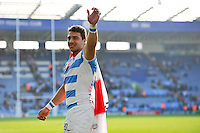 Juan Manuel Leguizamon of Argentina celebrates the win with the crowd after the match. Rugby World Cup Pool C match between Argentina and Tonga on October 4, 2015 at Leicester City Stadium in Leicester, England. Photo by: Patrick Khachfe / Onside Images