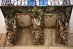 Palazzo Cosentini Baroque sculpted balcony corbels, Ragusa Ibla, Sicily