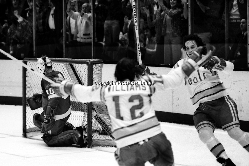 Seals score against the Detroit Red Wings. Jim Moxey and Butch Williams. Wings goalie Terry Richardson. 1975 (photo/Ron Riesterer)