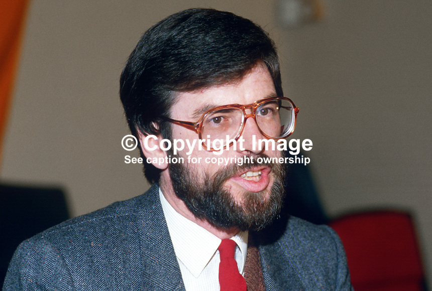 Provisional Sinn Fein president, Gerry Adams, at press conference following signing of Anglo-Irish Agreement. 19851111GA3..Copyright Image from Victor Patterson, 54 Dorchester Park, Belfast, UK, BT9 6RJ..Tel: +44 28 9066 1296.Mob: +44 7802 353836.Voicemail +44 20 8816 7153.Skype: victorpattersonbelfast.Email: victorpatterson@me.com.Email: victorpatterson@ireland.com (back-up)..IMPORTANT: If you wish to use this image or any other of my images please go to www.victorpatterson.com and click on the Terms & Conditions. Then contact me by email or phone with the reference number(s) of the image(s) concerned.
