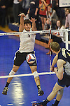 27 APR 2014: Luis Vega (5) of Springfield College block against Juniata College during the Division III Men's Volleyball Championship held at the Kennedy Sports Center in Huntingdon, PA. Springfield defeated Juniata 3-0 to win the national title.  Mark Selders/NCAA Photos