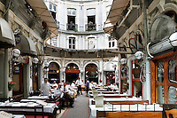 General view of Cicek Pasaji, by Cleanthy Zanno, 1876,  Istiklal Street, Istanbul, Turkey. Cicek Pasaji, or Flower Passage, is part of a shopping arcade with flats known as Cite de Pera, and built by banker Hristaki Zografos on the site of a burned out theatre. The shopping arcade was called Hristaki Pasaji but was nicknamed Flower Passage after the 1917 Russian revolution when many Russian emigre women opened flower shops here. Picture by Manuel Cohen.