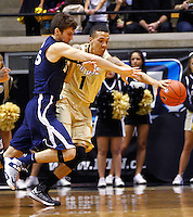 WEST LAFAYETTE, IN - DECEMBER 01: Erik Stenger #35 of the Xavier Musketeers and Anthony Johnson #1 of the Purdue Boilermakers battle for a loose ball at Mackey Arena on December 1, 2012 in West Lafayette, Indiana. Xavier defeated Purdue 63-57. (Photo by Michael Hickey/Getty Images) *** Local Caption *** Erik Stenger; Anthony Johnson
