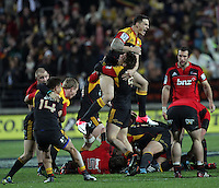 Chiefs' Sonny Bill Williams is lefted by Chiefs' Tawera Kerr-Barlow celebrating their victory over the Crusaders in the semi-final Super Rugby match, Waikato Stadium, Hamilton, New Zealand, Friday, July 27, 2012.  Credit:SNPA / David Rowland