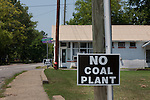 Anti Coal fired power plant sign in Surrey County Virginia.