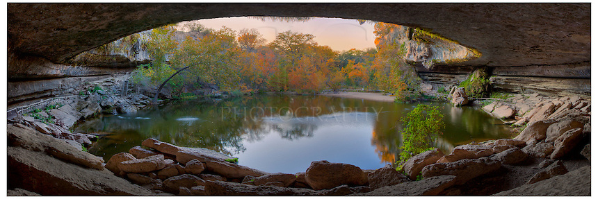 Hamilton Pool outside Austin, Texas, is a wonderful place to visit, especially in the fall when the leaves are changing. This panorama of Hamilton Pool is made up of several images blended together to capture the colors and width of this lush grotto.