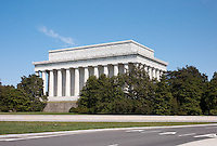 View of the back of the Lincoln Memorial in Washington, DC