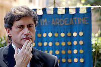 Rome July 19 2008.Annyversary of  the Bombardment district of San Lorenzo by the American occurred on 19 July 1943.The mayor of Rome Gianni Alemanno  makes tribute to the monument the Fallen to his shoulders the confalone of the fallen the Ardeatine Caves