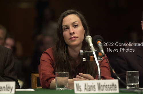 Alanis Morissette testifies before the United States Senate Judiciary Committee in Washington, D.C. concerning copyright issues related to the online entertainment industry on April 3, 2001..Credit: Ron Sachs / CNP