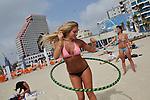 Tel Aviv. Girls enjoy beach life on the beach in central Tel Aviv.