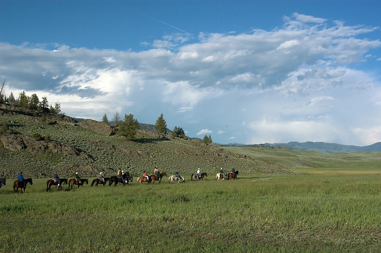 WY: Wyoming; Yellowstone National Park,.Westeren cookout at Roosevelt Lodge with.wagon rides and horse rides..Photo #: yellow1601.Photo copyright Lee Foster, 510/549-2202, lee@fostertravel.com, www.fostertravel.com..